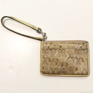 Coach Metallic Logo Wristlet/Wallet